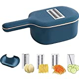 2021 New Hot Multifunctional Vegetable Chopper Slicer - Portable 4 in 1 cutter Grater Shre Dders with Strainer for Various Fruits and Vegetables Drain Basket Cutter (Blue)