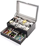 Boîte de Montre Mens Watch Case Organizer 12 Slot Double-Layer PU Leather Jewelry Display Drawer Glass Top Storage Box for Rings Earrings Black Improve