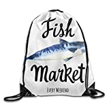 CSXKUL Illustration with Watercolor Scomber Fish Market Seafood Menu Hand Painting Picture Drawstring Bags Sports Backpack Sport Bag for Men & Women