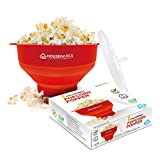 Collapsible Silicone Microwave Hot Air Popcorn Popper Bowl With Lid and Handles (Red)