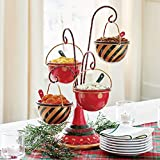 Juyuntong Christmas Snack Bowl Stand - Whimsical Style for Buffet Or Table Four Bowls Snack Stand, Dessert Stands Fruit Plates, Halloween Christmas Snack Basket Decorations