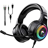 Casque Gaming PS4,Casque Gaming Switch avec Micro Anti Bruit Casque Gamer Xbox One Filaire LED Lampe Stéréo Bass Microphone Réglable avec Micro 3.5mm Jack Casque Compatible pour PC Xbox One (Black-F2)