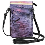 Women Small Cell Phone Purse Crossbody,Driftwood Beach Landscape Wavy Sea And Cloudy Sky At Sunset Digital Image Print