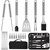 LUOWAN Ustensiles Barbecue, 20pcs Kit Barbecue Acier Inoxydable, Premium complète Accessoire Barbecue en Plein air ustensiles pour Barbecue Ensemble pour Camping Grillades