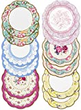 Talking Tables Pack of 12 - Size 18cm, 7' Tea Party Vintage Floral Paper Plates Small | Truly Scrumptious Party Plates | Great For Birthday Party, Baby Shower, Wedding And Anniversary