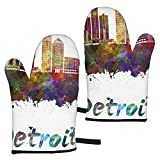 Gants Micro-Ondes Detroit Skyline Oven Mitts Kitchen Non-Slip Heat Resistant Mittens 1 Pair with Hanging Loop for Kitchen, Cooking, Baking, BBQ