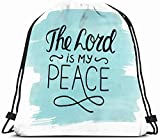 DHNKW Drawstring Backpack String Bag 14X16 Indite Belief Credence Turquoise Hand Lettering Emblem Confidence Trust Collection Saint My Peace Faithful Sport Gym Sackpack Hiking Yoga Travel Beach