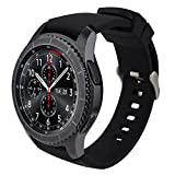 iBazal 22mm Bracelets Silicone Sport Watch Bandes Compatible avec Samsung Galaxy Watch 3 45mm/Gear S3 Frontier Classic,Galaxy Watch 46mm Remplacement pour Huawei GT/2 Classic,TicWatch Pro - Noir