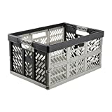 keeeper Extra Strong Folding Box with Soft-Touch Handles, 54x37x28 cm, 45 Litre, Ben, Light Grey