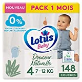 LOTUS BABY Douceur Naturelle - Couches Taille 4 (7-12 kg) Pack 1 mois - 148 couches