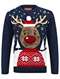Tokyo Laundry Rudolph Crew Neck Christmas Jumper in Sapphire/Castlerock - Merry Christmas-L