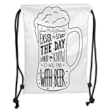 Fevthmii Drawstring Backpacks Bags,Man Cave Decor,Typographic Art with Humorous Quotation Beverage Pub Bar Glass Stars,Black and White Soft Satin,5 Liter Capacity,Adjustable String Closure,