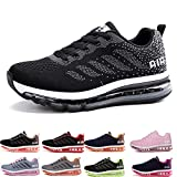 Homme Femme Air Baskets Chaussures Gym Fitness Sport Sneakers Style Running Multicolore Respirante Black White 34