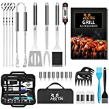 AISITIN Ustensiles Barbecue Kit Barbecue 25 Pièces Accessoire Barbecue Acier Inoxydable pour Homme Femme Camping Barbecue