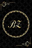 BZ: Golden Monogrammed Letters, Executive Personalized Journal With Two Letters Initials, Designer Professional Cover, Perfect Unique Gift