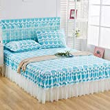 ASDFF Sheets Romantic Lace Bed Skirt Sanding Soft Bedspreads Fashionable Fitted Sheet Twin Queen Bedspread for Girl Room Home Decoration 1pc Skirt 180x200 Blue