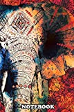 Notebook: Sketched Indian Elephant Decorative Patterned Design , Journal for Writing, College Ruled Size 6' x 9', 110 Pages