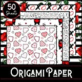 Origami Paper: Love Theme - Booklet of 50 sheets - Format 21 cm x 21cm - 8,5inch x 8,5inch - (5 models x 10 sheets) - Children and adults