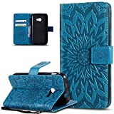 Coque Galaxy Xcover 4,Etui Galaxy Xcover 4,Embosser Gaufrage fleur soleil Housse Cuir PU Housse Etui Coque Portefeuille Protection supporter Flip Case Etui Housse Coque pour Galaxy Xcover 4,Bleu